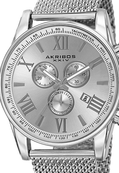 AKRIBOS XXIV Akribos Сребрист часовник с хронограф Мъже