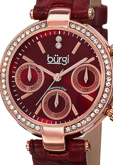 BURGI Ceas cu functii multiple si cadran decorat cu diamante Femei
