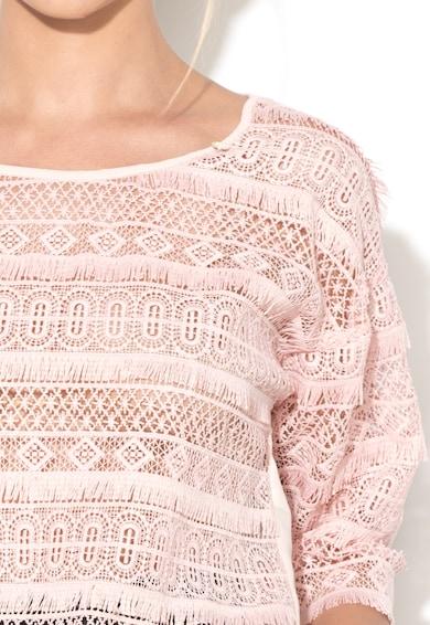 Rinascimento Bluza transparenta roz pastel de dantela Femei