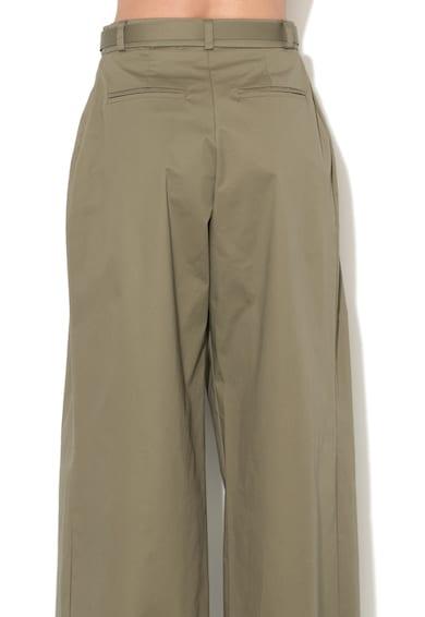 Rinascimento Pantaloni verde oliv inchis cu croiala ampla si o curea Femei
