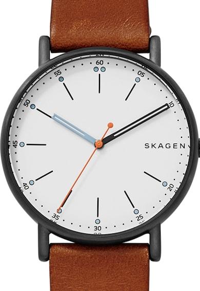 Skagen Черен часовник с кожена каишка Мъже