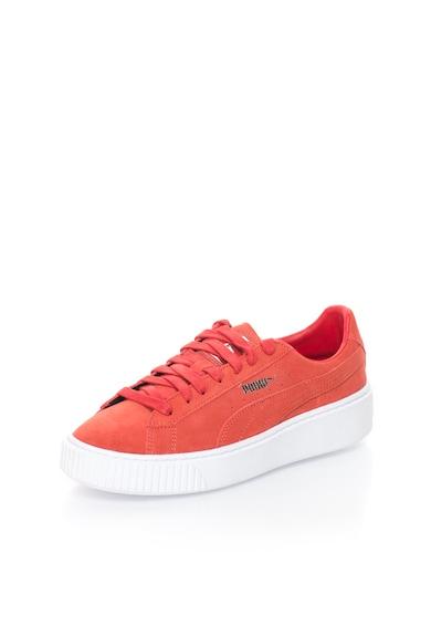Puma Piros Nyersbőr Flatform Cipő női