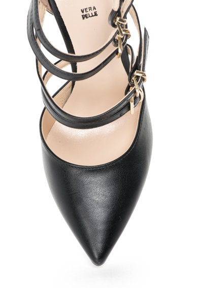 Versace 19.69 Abbigliamento Sportivo Pantofi negri cu barete multiple si varf ascutit Seline Femei