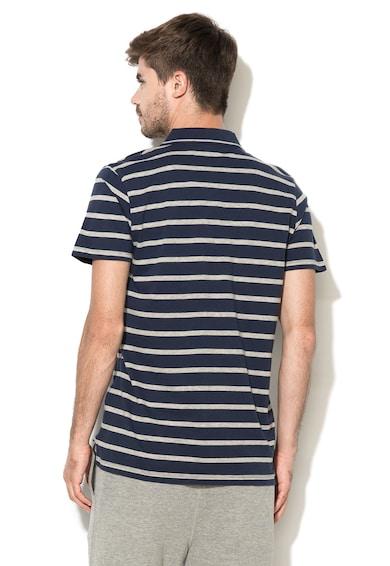 Greystone Раирана тениска в тъмносиньо и сив меланж с яка Мъже