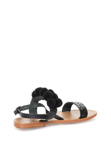 WHITE SUN Черни сандали с помпони Жени