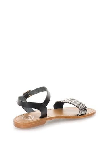 WHITE SUN Sandale negre cu bareta pe glezna si strasuri Femei