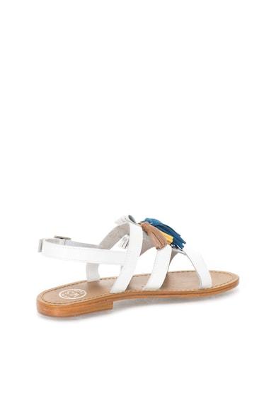WHITE SUN Бели кожени сандали с цветни пискюли Жени