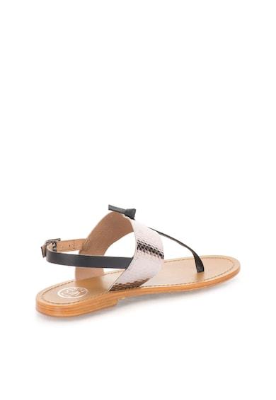 WHITE SUN Кожени сандали в черно и сребристо Жени