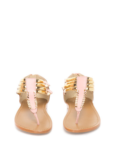 WHITE SUN Sandale auriu si roz cu bareta in forma de T Femei