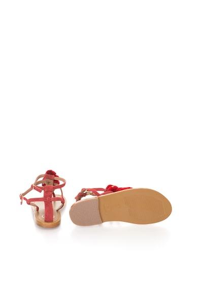 WHITE SUN Велурени сандали в ягода с T-образна каишка Жени