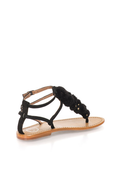 WHITE SUN Sandale negre de piele intoarsa cu ciucuri Femei