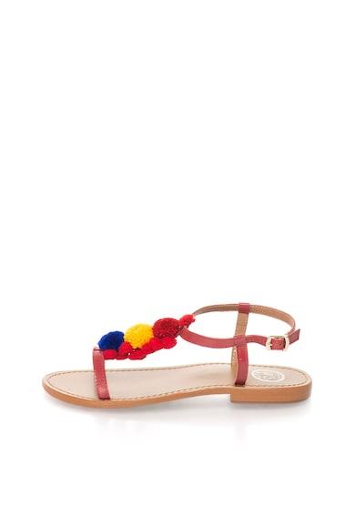 WHITE SUN Червени кожени сандали с помпони Жени