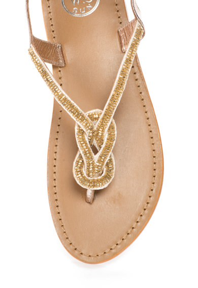 WHITE SUN Sandale argintiu si auriu cu bareta separatoare Femei