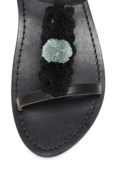 WHITE SUN Sandale negre de piele cu ciucuri Femei
