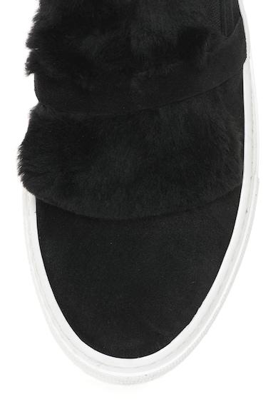 Bronx Pantofi sport slip-on flatform de piele intoarsa si blana sintetica Femei