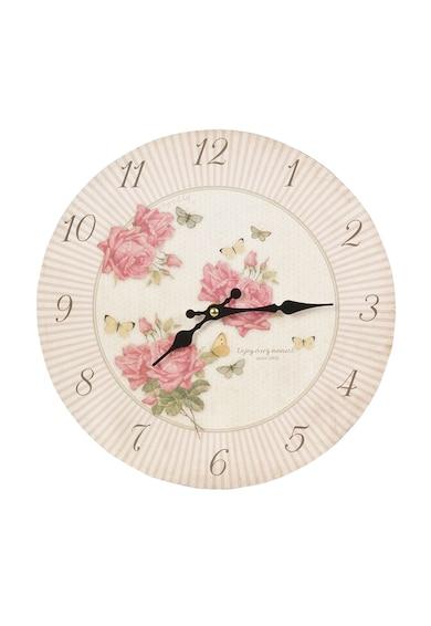 Clayre & Eef Ceas de perete alb fildes cu roz prafuit si trandafiri Femei