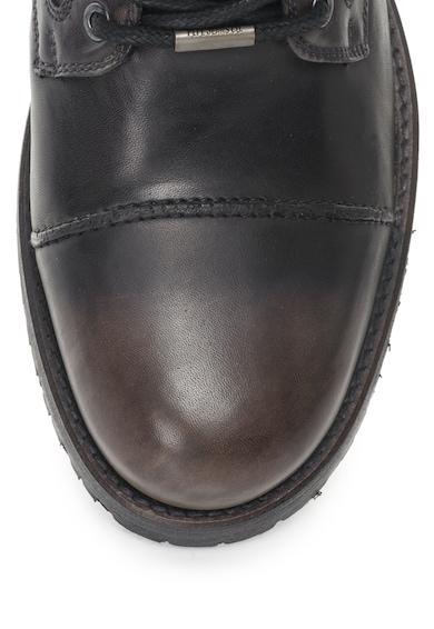 Pepe Jeans London Bocanci de piele cu aspect patinat si aplicatie cap-toe Melting Heritage Barbati