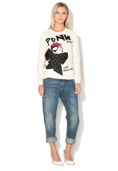 Love Moschino Плетен пуловер с апликации и капси Жени