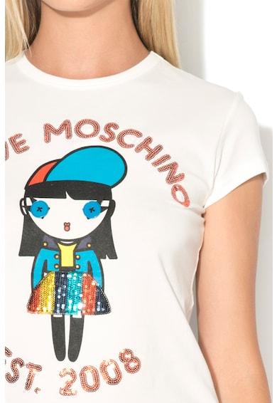 Love Moschino Tricou cu paiete si imprimeu cauciucat Femei