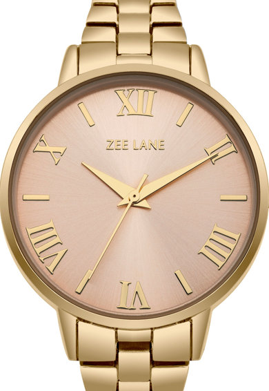 Zee Lane Ceas rotund cu display analog, Auriu Femei