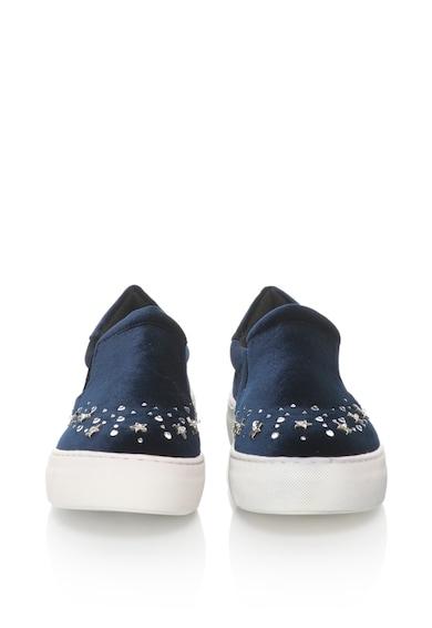 Oakoui Pantofi slip-on flatform catifelti cu strasuri Eva Femei