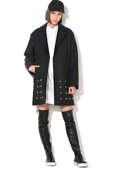 Diesel Black Gold Palton din amestec de lana cu aplicatii metalice Walleroy Femei