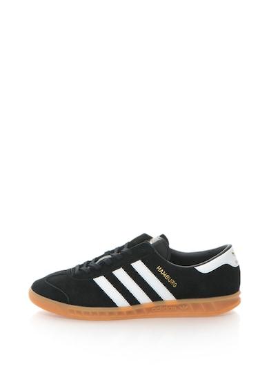 7b51776bab41 Adidas ORIGINALS Hamburg Fekete&Fehér Sneakers Cipő Ikonikus Csíkokkal férfi