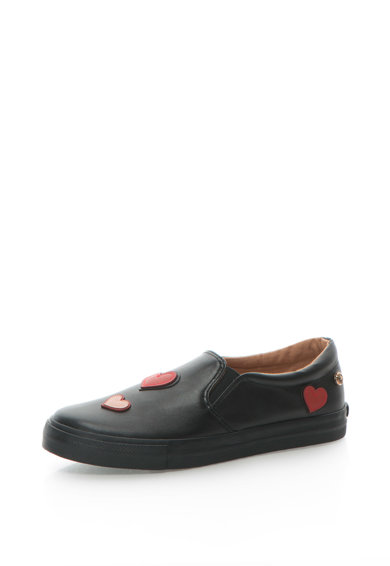 Love Moschino Pantofi slip-on de piele sintetica cu detaliu in forma de inima si broderie Femei