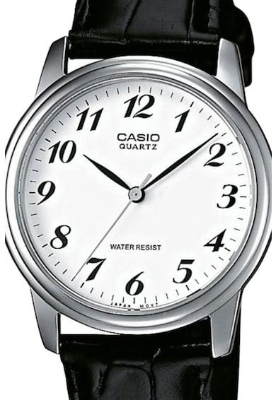 Casio Часовник Collection с черна кожена каишка Мъже