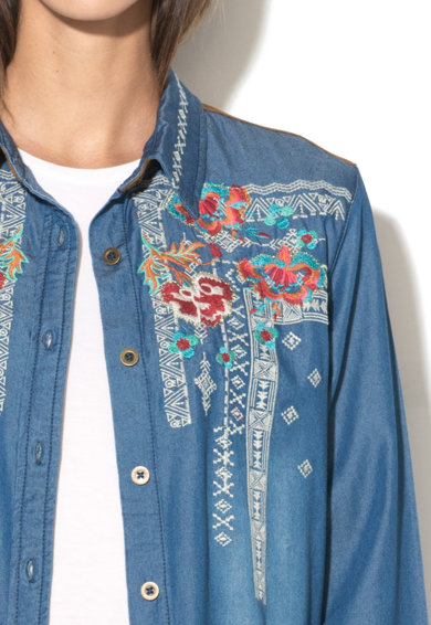 DESIGUAL Camasa lunga din chambray cu broderie florala Lizzy Femei
