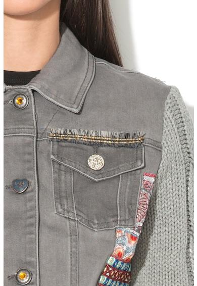 DESIGUAL Jacheta de denim cu maneci tricotate Exotic Femei