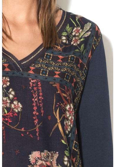 DESIGUAL Bluza cu decolteu in V, maneci lungi si imprimeu floral Femei