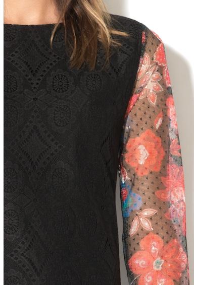 DESIGUAL Rochie din dantela cu maneci de plasa cu model floral Pichi Femei