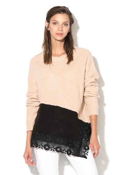 DESIGUAL Пуловер с рипсена повърхност, Бежов / Черен, L Жени