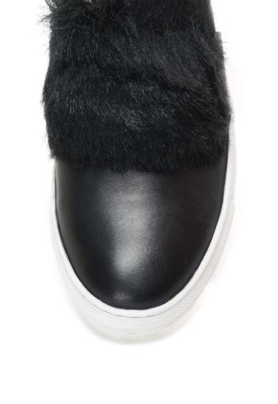 Les Tropeziennes Pantofi slip-on de piele cu garnitura de blana sintetica Leone . Femei