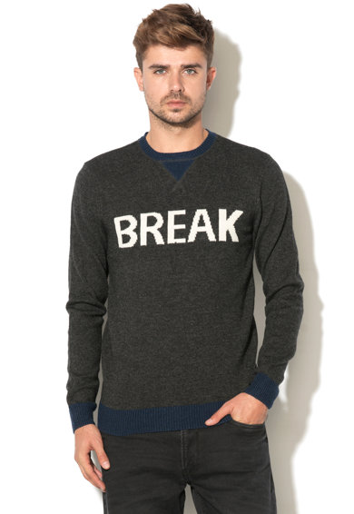 BLEND Втален пуловер с текстова шарка Мъже