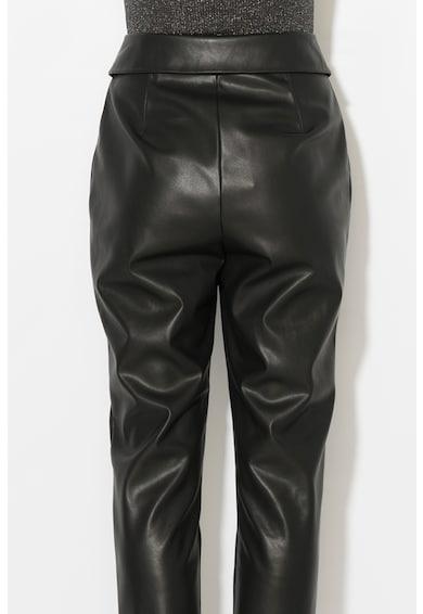 Zee Lane Pantaloni conici de piele sintetica cu terminatie rasucita Femei