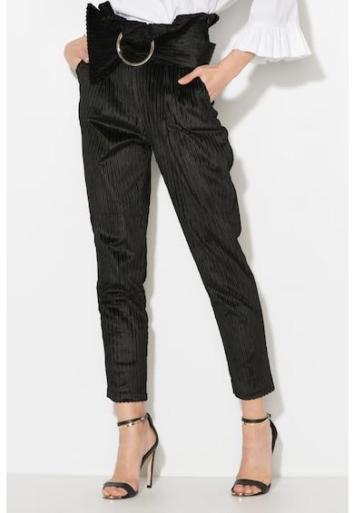 Zee Lane Collection Pantaloni crop din reiat cu volan in talie Femei