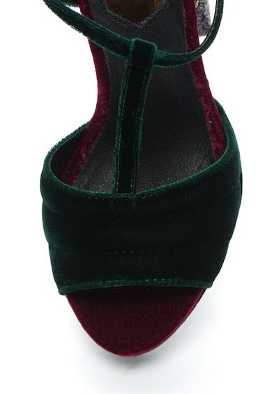 Gioseppo Sandale din catifea cu bareta T si toc masiv stralucitor Femei