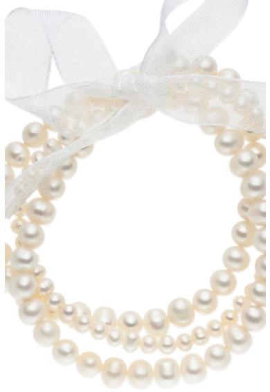 Zee Lane Bratara cu siraguri multiple de perle si funda Femei