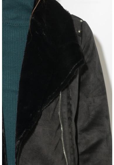 Zee Lane Denim Nyersbőr Hatású Motoros Kabát Szőrmegallérral női