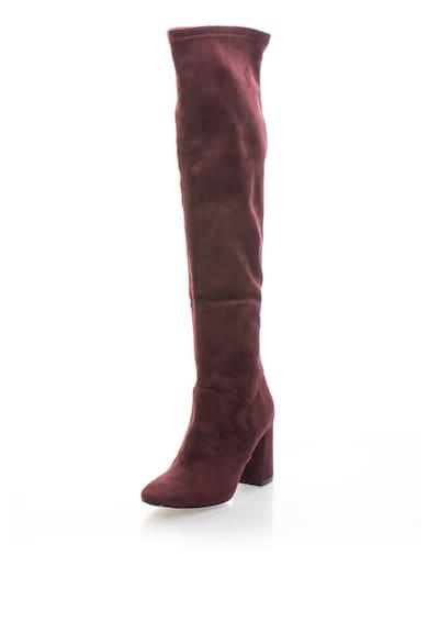Zee Lane Cizme de piele intoarsa sintetica inalte peste genunchi cu toc masiv Femei