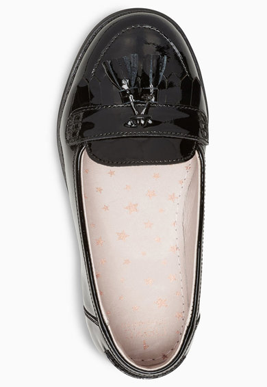 NEXT Pantofi loafer de piele lacuita, cu franjuri Fete