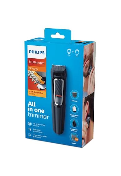 Philips Aparat de tuns barba si parul 9 in 1  Multigroom MG3740/15, Lame cu ascutire, Acumulator, 6 piepteni par fata si cap, Negru Barbati