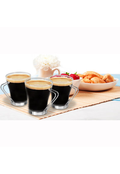 Art of dining by HEINNER Set 3 cesti Art of Dining Heinner, Sticla, Maner otel crom, 110ml Femei