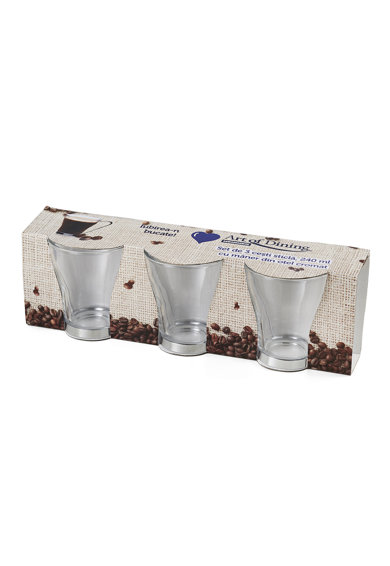 Art of dining by HEINNER Set 3 cesti Art of Dining Heinner, Sticla, Maner otel crom, 240ml Femei