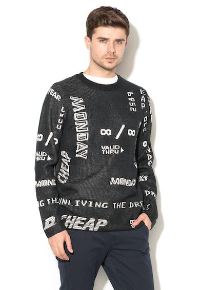 Cheap Monday Pulover din tricot fin cu model grafic Neglect Barbati