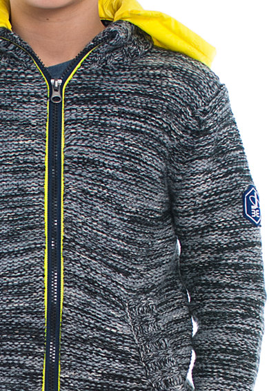 Brums Jacheta tricotata cu gluga contrastanta Baieti