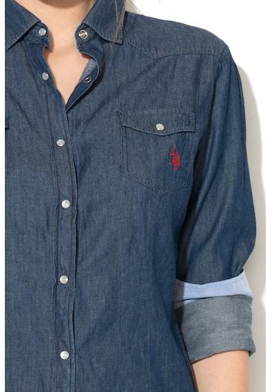 U.S. Polo Assn. Camasa din chambray cu buzunare aplicate Femei