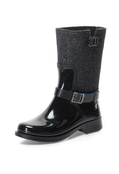 Trussardi Jeans Cizme de ploaie fara inchidere, cu segmente stralucitoare Femei